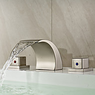 Modern Widespread Waterfall with  Ceramic Valve Two Handles Three Holes for  Nickel Brushed , Bathroom Sink Faucet