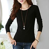 Γυναικεία Μεγάλα Μεγέθη T-shirt Εξόδου Κομψό στυλ street - Βαμβάκι Μονόχρωμο / Άνοιξη / Φθινόπωρο