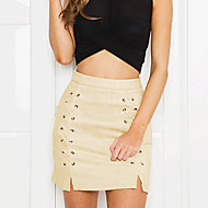 cheap Women's Skirts-Women's Going out Street chic Pencil Skirts - Solid Colored, Split