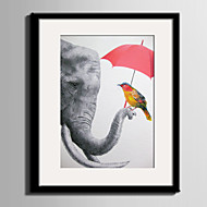 cheap Framed Arts-E-HOME® Framed Canvas Art Elephants And Birds Framed Canvas Print One Pcs