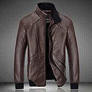 Masculino Jaquetas de Couro Para Noite Simples Inverno,Sólido Padrão Manga Longa