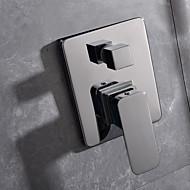 billige Rabatt Kraner-Moderne Vægmonteret Keramisk Ventil Enkelt håndtak To Huller Krom, Dusjkran