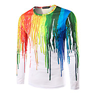 Masculino Camiseta Informal / Casual / Bandagem Boho / Moda de Rua / Punk & Góticas Todas as Estações,Arco-Íris Colorido AlgodãoDecote