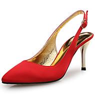 お買い得  レディースハイヒール-女性用 靴 シルク 春 夏 コンフォートシューズ サンダル スティレットヒール ポインテッドトゥ のために 結婚式 パーティー ホワイト ブラック レッド グリーン アーモンド