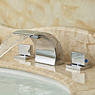 Modern Ayrılmış Gövdeli Şelale with  Seramik Vana İki Kolları Üç Delik for  Krom , Banyo Lavabo Bataryası