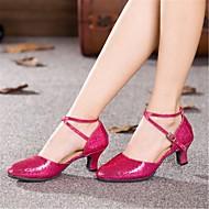 billige Moderne sko-Dame Latin Paljett Høye hæler Profesjonell Spenne Kubansk hæl Mørkegrå Sølv Rød Blå Rosa 5 cm Kan spesialtilpasses