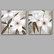 baratos -Pintados à mão Abstrato Floral/Botânico Clássico Modern Tela Pintura a Óleo Decoração para casa 2 Painéis