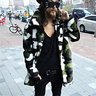 Masculino Casaco de Pêlo Diário Elegante & Luxuoso Inverno,Outros Longo N/D Colarinho de Camisa Manga Longa Estilo Artístico