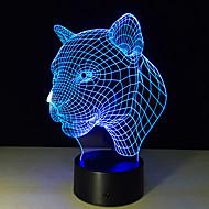criativa 3d lâmpada ilusão cabeça de leopardo 3D conduziu toque alternar colorido lâmpada de mesa atmosfera acrílico candeeiro de mesa usb