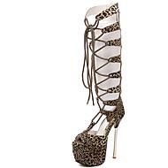 女性-カジュアル パーティー-ファー-スティレットヒール-グラディエーターサンダル 靴を点灯-サンダル-ブラック