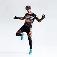 Cykeltrøje og tights Herre Langt Ærme Cykel Kompressionstøj TightsHurtigtørrende Forside Lynlås Påførelig Høj Åndbarhed Åndbart