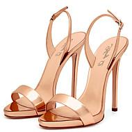 baratos Sapatos Femininos-Mulheres Couro Ecológico Primavera / Verão Chanel Sandálias Salto Agulha Dedo Aberto Presilha Vermelho / Nú / Champanhe / Casamento / Festas & Noite / Festas & Noite