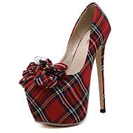 Χαμηλού Κόστους Hot U®-Γυναικεία Παπούτσια Ύφασμα Άνοιξη / Καλοκαίρι Πρωτότυπο Τακούνια Τακούνι Στιλέτο Στρογγυλή Μύτη Φιόγκος / Καρό Κόκκινο / Φόρεμα