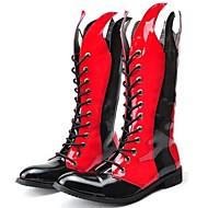 baratos Sapatos de Tamanho Pequeno-Homens Fashion Boots Couro Envernizado Primavera / Outono / Inverno Conforto / Botas de Moto Botas Preto / Vermelho / Festas & Noite