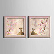 E-HOME® Framed Canvas Art Vases And Birds Framed Canvas Print Set Of 2