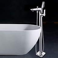 cheap Bathtub Faucets-Bathtub Faucet - Floor Standing Chrome Floor Mounted Single Handle One Hole
