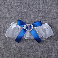 Jartiyer Organza Fiyonk Düğüm Beyaz Mavi