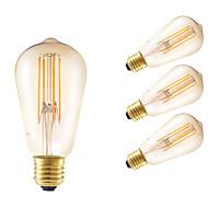 tanie Więcej Kupujesz, Więcej Oszczędzasz-GMY® 4szt 350 lm E26/E27 Żarówka dekoracyjna LED ST58 4 Diody lED COB Przysłonięcia Dekoracyjna Bursztynowy AC 220-240V