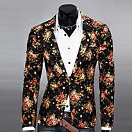สำหรับผู้ชาย ทุกวัน ฤดูใบไม้ผลิ / ตก ปกติ เสื้อคลุมสุภาพ, ลายดอกไม้ ปกคอแบะของเสื้อแบบน็อตช์ แขนยาว เส้นใยสังเคราะห์ ลายพิมพ์ ขาว / สีดำ / สีเทา L / XL / XXL / เพรียวบาง