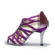 baratos Sapatilhas de Dança-Mulheres Sapatos de Dança Latina / Sapatos de Jazz / Sapatos de Salsa Paetês Sandália / Salto Lantejoulas / Salto em Cristal Salto Agulha Personalizável Sapatos de Dança Preto / Roxo / Vermelho