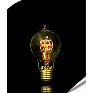billige Glødelampe-1pc 60 W B22 / E26 / E26 / E27 A60(A19) Varm hvit Glødende Vintage Edison lyspære 220-240 V