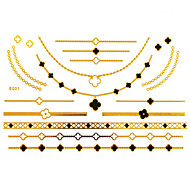 cheap Temporary Tattoos-1Pc Gold And Black Long Bracelet And Necklace Tattoo Sticker 23x15CM