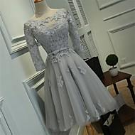 Χαμηλού Κόστους -Γραμμή Α Εφαρμοστό & Εμβαζέ Illusion Seckline Μέχρι το γόνατο Τούλι πάνω από δαντέλα Καλωσόρισμα / Χοροεσπερίδα Φόρεμα με με LAN TING