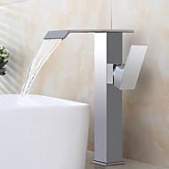 billige Rabatt Kraner-Baderom Sink Tappekran - Forskyll / Foss / Utbredt Krom Centersat Enkelt håndtak To Huller