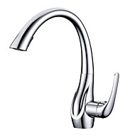 cheap Kitchen Faucets-Kitchen faucet - Contemporary Chrome Pull-out / ­Pull-down Deck Mounted