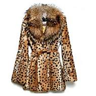 V-hals Langærmet Medium Dame Brun Leopard Vinter Sexet Casual/hverdag Pelsfrakke,Imiteret pels