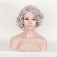 Kadın Sentetik Peruklar Bonesiz Şort Kıvırcık Gümüş Yan Parti Bob Saç Kesimi Cosplay Peruk Cadılar Bayramı Peruk Karnaval Peruk kostüm