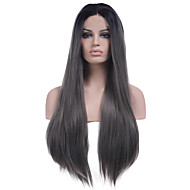 Žene Sintetičke perike Lace Front Dug Ravna Siva Prirodna linija za kosu Srednji dio Prirodna perika Kostim perika