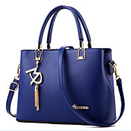 Women Bags All Seasons PU Tote Beading Metallic for Formal Outdoor Office & Career Black Fuchsia Blue Pink Wine