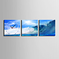 MINI SIZE E-HOME Blue Wavesn Clock in Canvas 3pcs Wall Clocks