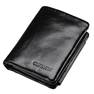 Men Bags All Seasons Cowhide Wallet Ruffles for Shopping Casual Sports Office & Career Black