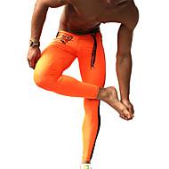 Herre Løbetights / Træningsleggings - Orange, Grøn Sport Mode Kompressionstøj Fitness, Træningscenter, Træning Sportstøj Hurtigtørrende, Fugtpermeabilitet, Høj Åndbarhed Elastisk / Åndbart / Åndbart