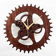 מודרני / עכשווי רטרו חופשה מעורר השראה משפחה סרט מצויר שעון קיר,עגול מצחיק אקרילי מתכת עץ 30 בבית/ בטבע שָׁעוֹן