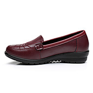 Women's Athletic Shoes Spring Fall Moccasin PU Casual Flat Heel  Black Burgundy