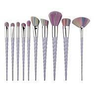 Profesional Pinceles de maquillaje Sistemas de cepillo 10pcs Portátil Viaje Cobertura completa Pincel de Comadreja / Pelo Sintético / Pincel de Fibra Artificial Plástico Pinceles de Maquillaje para