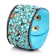 Feminino Bracelete Pulseiras de couro Estilo Boêmio Pedras dos signos Pedras preciosas sintéticas Pele Turquesa Jóias Jóias Para Festa
