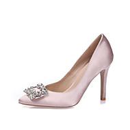 cheap Wedding Shoes-Women's Heels Spring Summer Fall Winter Silk Wedding Dress Party & Evening Stiletto Heel Rhinestone Sparkling GlitterWhite Black Blue