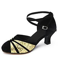"""billige Moderne sko-Dame Latin Paljett Fløyel Sandaler Innendørs Tykk hæl Svart og Gull Svart og Sølv Svart/Rød 1 """"- 1 3/4"""" Kan ikke spesialtilpasses"""