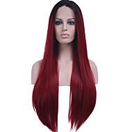 halpa -Naisten Synteettiset peruukit Lace Front Pitkä Suora Musta / tumma Wine Luonnollinen hiusviiva Liukuvärjätyt hiukset Tummat juuret