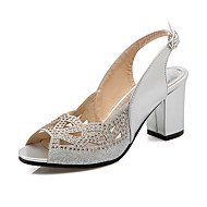 cheap Plus Size Shoes-Women's Shoes Glitter Spring Summer Sandals Chunky Heel Peep Toe Rhinestone Sequin for Wedding Casual Party & Evening Gold Black Silver