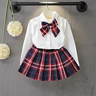 Toddler Genç Kız Actif Günlük / Okul Ekose Fiyonklar Uzun Kollu Normal Suni İpek Kıyafet Seti Beyaz