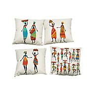 """sarja 4 kansallista tyyliä liinavaatteet tyynyliina afrikka alkuperäinen ihmisten elämä (18 """"* 18"""")"""