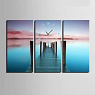 Moderne / Nutidig Andre Veggklokke,Rektangulær Lerret 30 x 60cm(12inchx24inch)x3pcs/ 40 x 80cm(16inchx32inch)x3pcs Innendørs Klokke