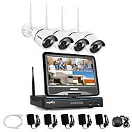 billige Trådløst CCTV System-sannce® 2.4g 10.1 lcd 4ch hd trådløs 720p wifi nvr 1500tvl inn / utendørs irsk ip kamera sikkerhetssystem