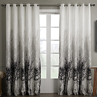 Rod Pocket Grommet Top Tab Top Double Pleat Two Panels Curtain Country , Jacquard Bedroom Polyester Material Curtains Drapes Home