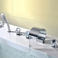 billige Rabatt Kraner-Moderne Vannrett Montering Foss Hånddusj Inkludert Keramisk Ventil Tre Håndtak fem hull Krom, Baderom Sink Tappekran